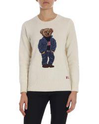 Polo Ralph Lauren Pullover color panna intarsio orso