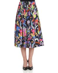 Etro - Floral Printed Cotton Skirt - Lyst