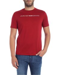 Emporio Armani - Red T-shirt With White Logo Embroidery - Lyst