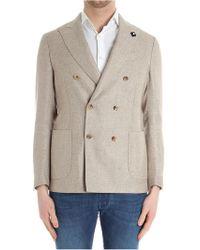 Lardini - Beige Linen Jacket - Lyst