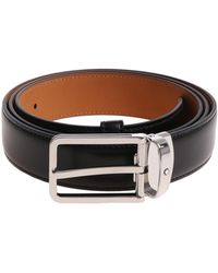 Montblanc - Black Belt With Silver Buckle - Lyst