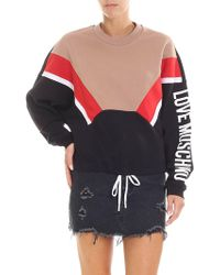 Love Moschino - Black Sweatshirt With White Logo Print - Lyst