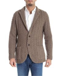 Lardini - Brown Cardigan With Notched Lapels - Lyst
