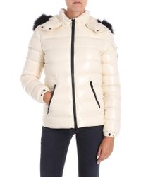 Moncler - Cream-colored Badyfur Down Jacket - Lyst