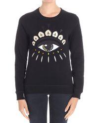 KENZO - Black Sweatshirt With Eye Embroidery - Lyst