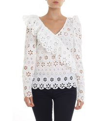 Self-Portrait - Petal Embroidered Top - Lyst