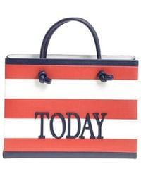 Alberta Ferretti - Red And White Today Striped Shoulder Bag - Lyst