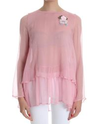 Twin Set - Pink Blouse With Brooch - Lyst