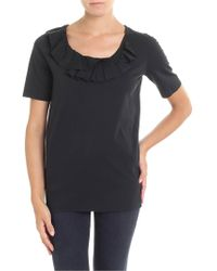 DSquared² - Black T-shirt With Ruffle On The Neckline - Lyst