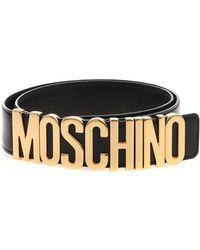 Moschino - Black Belt With Logo - Lyst