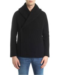 Roberto Collina - Black Melange Cardigan With Wrap Closure - Lyst