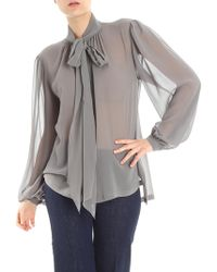 Alberta Ferretti - Gray Silk Blouse With Ribbon - Lyst