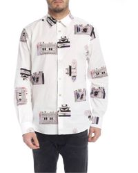 Paul Smith - Slim-fit White 'paul's Camera' Print Shirt With 'artist Stripe' Cuff Lining - Lyst