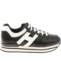 """Hogan - """"h222"""" Black And White Sneakers - Lyst"""