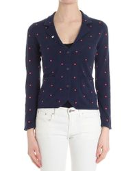 Sun 68 - Blue Cardigan With Embroidered Polka Dots - Lyst