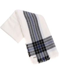 Woolrich - White Scarf With Black And Blue Pattern - Lyst