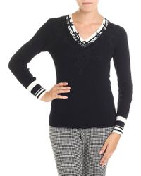Ermanno Scervino - Black Sweater With Crochet Inserts - Lyst