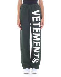 Vetements - Pantalone verde con logo - Lyst