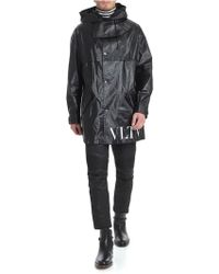 Valentino - Black Waxed Caban With Vltn Print - Lyst