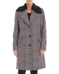 McQ - Black And White Houndstooth Coat - Lyst