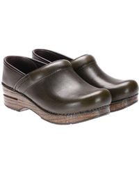 Dansko - Army Green Leather Clogs - Lyst