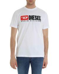 DIESEL - Just Division White Crew Neck T-shirt - Lyst