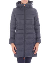 Save The Duck - Dove Grey Long Hooded Down Jacket - Lyst