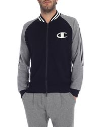 Paolo Pecora - Blue And Grey Sweatshirt With Knitted Details - Lyst