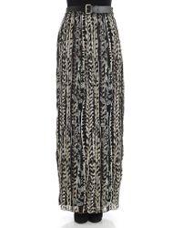 Alberta Ferretti - Pleated Skirt With Floral Pattern - Lyst