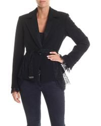 Blumarine - Flared Black Jacket With Lace Inserts - Lyst