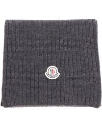 Moncler - Gray Knitted Scarf - Lyst