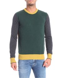 Woolrich - Yellow Green And Grey Crew-neck Pullover - Lyst