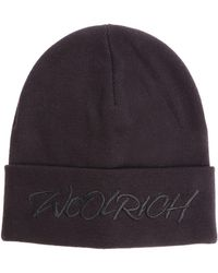 Woolrich - Black Beanie With Embroidered Logo - Lyst