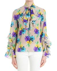 MSGM - Dove Gray Blouse With Floral Print - Lyst