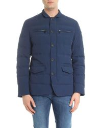 Trussardi - Blue Quilted Down Jacket With Chest Pockets - Lyst
