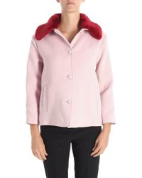 Trussardi - Pink Coat With Red Eco-fur - Lyst