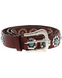 Orciani - Bull Brown Belt With Silver Decorations - Lyst