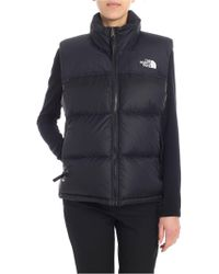 The North Face - Black Waistcoat With Logo - Lyst
