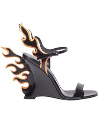 d917f3bb45d Prada - Patent Leather Sandals With Flames - Lyst