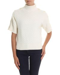 05a5b5490708cb See By Chloé - White High Collar Knitted Jumper - Lyst