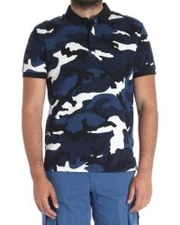 Valentino - Camouflage Polo In Shades Of Blue - Lyst