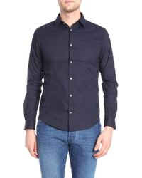 Emporio Armani - Blue Shirt With Embroidered Logo - Lyst