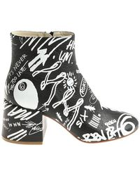 MM6 by Maison Martin Margiela - Black Graffiti Printed Ankle Boots - Lyst