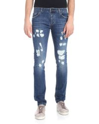 Entre Amis - Blue Jeans With Worn Effect - Lyst