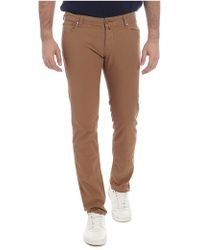 Jacob Cohen - Pantalone marrone in cotone stretch - Lyst