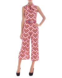 Elisabetta Franchi - Tie-neck Jumpsuit With Mosaic Print - Lyst