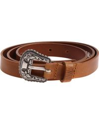 DIESEL - B-texy Tan Colored Belt With Embroidered Buckle - Lyst