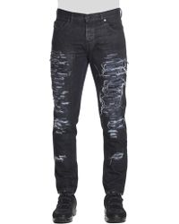 Diesel Black Gold - Black 5 Pocket Destroyed Jeans - Lyst