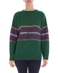 Altea - Green And Purple Pullover With Inlay - Lyst