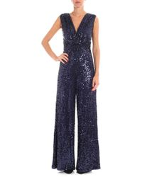 P.A.R.O.S.H. - Blue Sleeveless Sequins Jumpsuit - Lyst